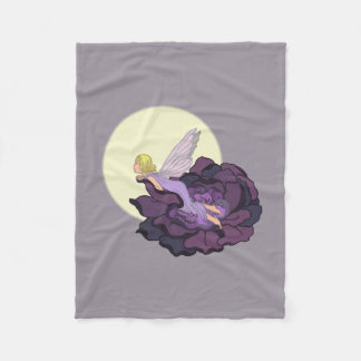 Moon Gazing Purple Flower Fairy Evening Sky Fleece Blanket