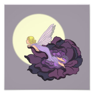 Moon Gazing Purple Flower Fairy Evening Sky Photo