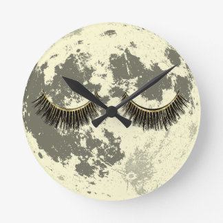 Moon Gold Lashes Sleeping Full Moon Round Clock