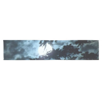Moon Illuminates the Night behind Tree Branches Short Table Runner