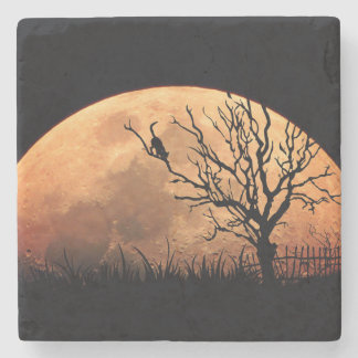 Moon illustration stone coaster
