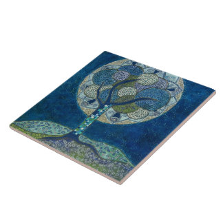 """Moon in Bloom"" (painting) Tile"