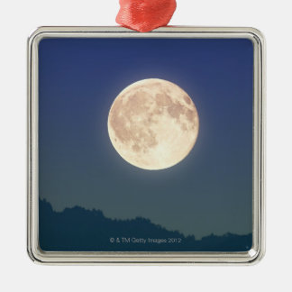 Moon in the Night Sky Silver-Colored Square Ornament