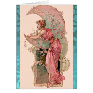 MOON LADY,FLOWERS  AND ROSES,PINK BLUE DAMASK GREETING CARD