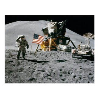 moon landing apollo 15 lunar module nasa 1971 postcard