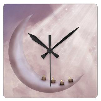 Moon Light Candles Wall Clock