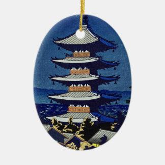 Moon Light In Yasaka Pagoda Asano Takeji Ceramic Oval Ornament