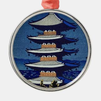 Moon Light In Yasaka Pagoda Asano Takeji Silver-Colored Round Ornament