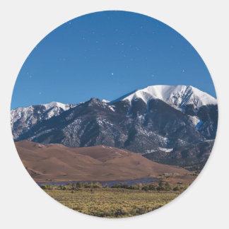 Moon Lit Colorado Great Sand Dunes Starry Night Classic Round Sticker