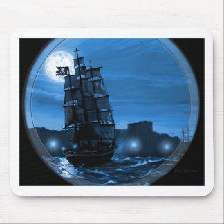 Moon lit sailing ship through a Spyglass Mouse Pad