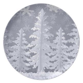 Moon lit Winter landscape Dinner Plates