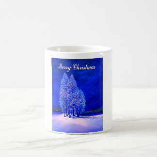 Moon Looks at Christmas Trees Classic White Coffee Mug