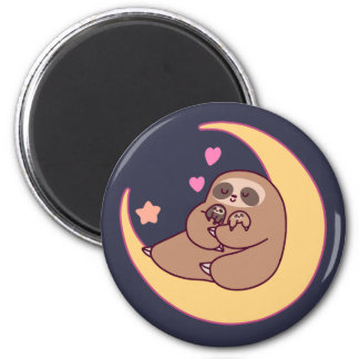 Moon Mama Sloth and Babies 2 Inch Round Magnet