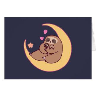 Moon Mama Sloth and Babies Card