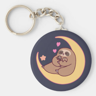Moon Mama Sloth and Babies Keychain