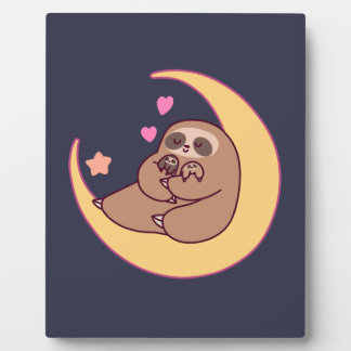 Moon Mama Sloth and Babies Plaque