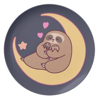 Moon Mama Sloth and Babies Plate
