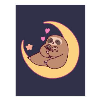 Moon Mama Sloth and Babies Postcard