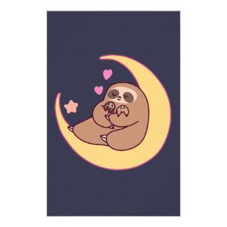 Moon Mama Sloth and Babies Stationery Design