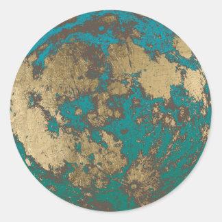 Moon Modern Gold Full Moon Rusty Classic Round Sticker