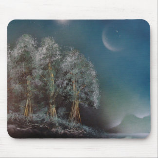 Moon Mountain And Trees By Bernardo Perales Mouse Pad