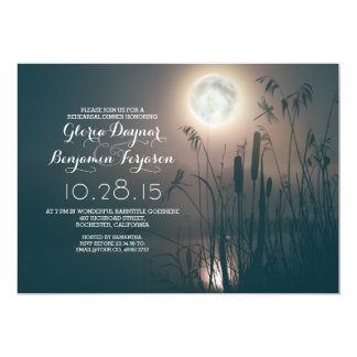 moon night dragonfly &water grass rehearsal dinner card