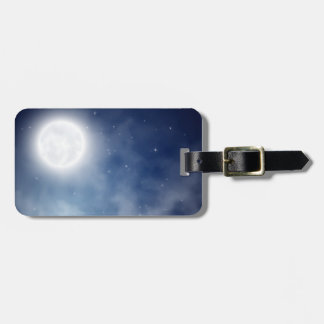 Moon Night Lotus FLower Luggage Tag