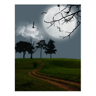 Moon night mystery fantasy scenery postcard