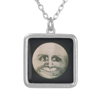 Moon Optical Illusion Silver Plated Necklace