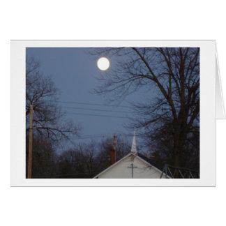 Moon Over Church Steeple Card