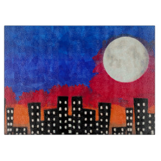 Moon Over City Cutting Board