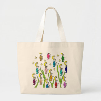 moon over fish large tote bag