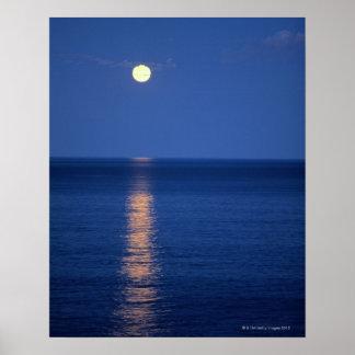 Moon Over Lake at Night Poster