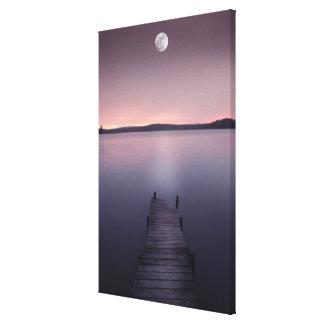 Moon Over Lake Canvas Print