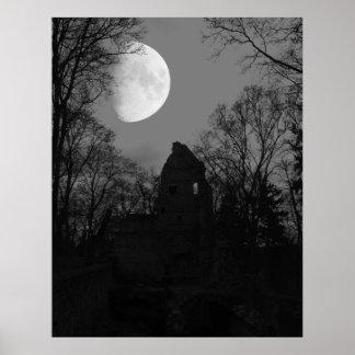 moon over monastery ruin poster