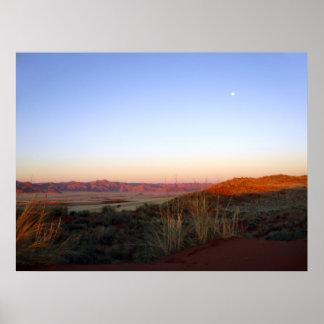 Moon over Namib Desert Poster