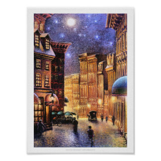 Moon Over Old City Poster