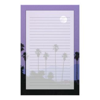 Moon over palm trees at dusk, Hollywood Custom Stationery