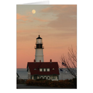 Moon Over Portland Head Lighthouse Card