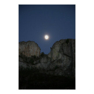 Moon Over Seneca Rock, West Virginia Poster