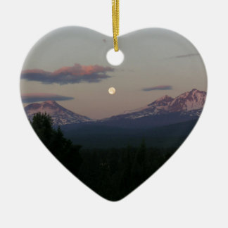 Moon over the Cascades Ceramic Ornament