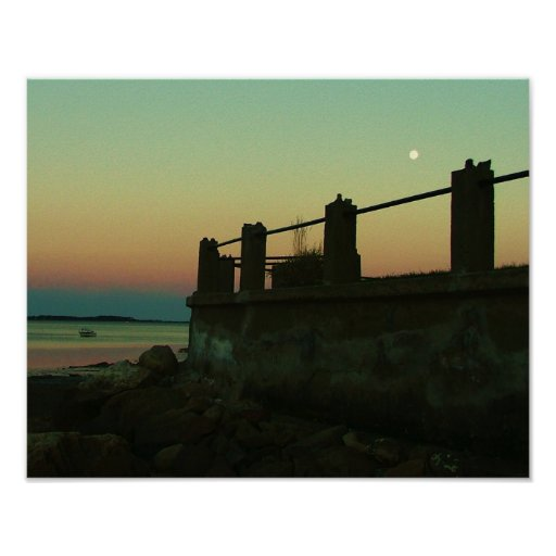 moon over the water rocky nook kingston ma. poster