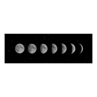 Moon Phases and Stars Poster