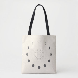 Moon Phases Light Tote Bag