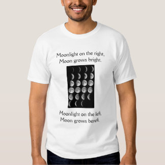 moon phases, Moonlight on the right,Moon grows ... Shirts