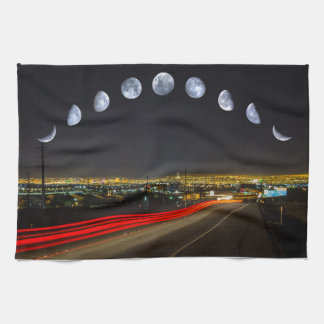 Moon Phases Panorama Over Las Vegas Kitchen Towels