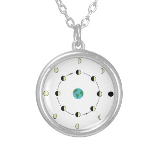 Moon Phases Silver Plated Necklace