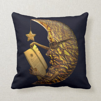 Moon reading a book, and star light it up throw pillow