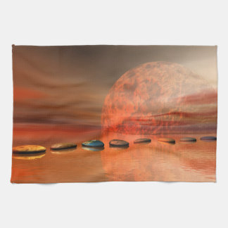 moon red and steps kitchen towel
