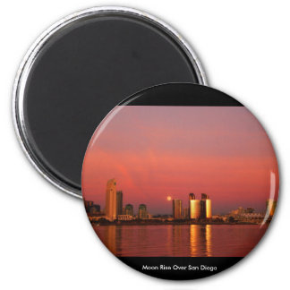 Moon Rise Over San Diego 2 Inch Round Magnet